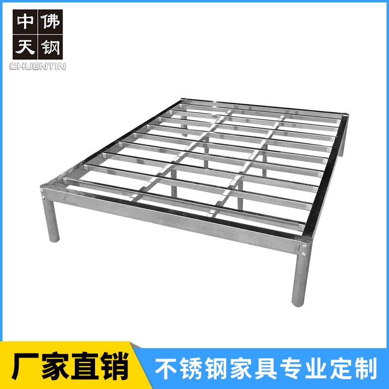 出租屋床 不锈钢床 现代简约不锈钢本色双人床 厂家直销