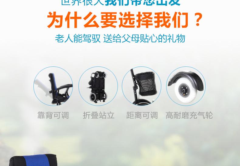 包邮上海互邦电动轮椅HBLD4-E轻便可折叠老年残疾人代步车家用示例图21