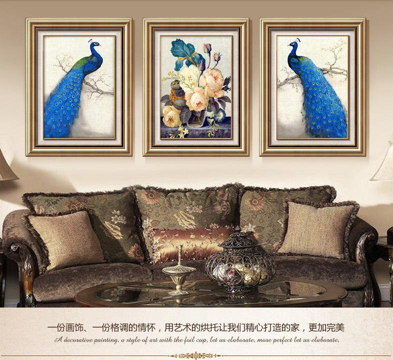 薇艾可画业富贵金双框客厅装饰画大气走廊挂画玄关餐厅油画