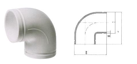 沟槽式HDPE超静音排水管,hdpe沟槽90度弯头,沟槽PE管,PE管示例图13