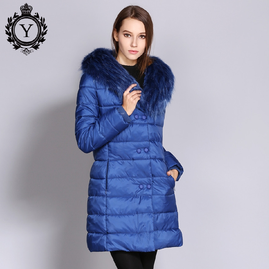 2017新款女士冬装外套 大毛领中长款修身羽绒棉服棉衣 欧美爆款图片