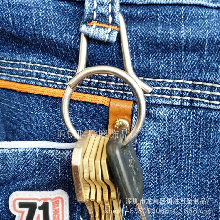 一体快拆式钥匙扣 创意钛合金钥匙扣挂件 原创设计男女钥匙环