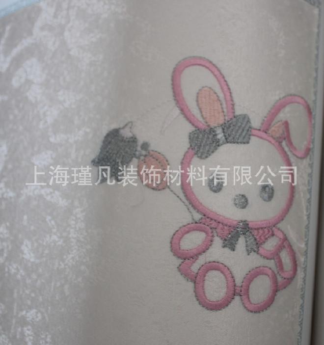 墙布墙壁小房间刺绣儿童环保兔子房无缝女孩卡通狮子墙布布nds稻草人图案英文图片