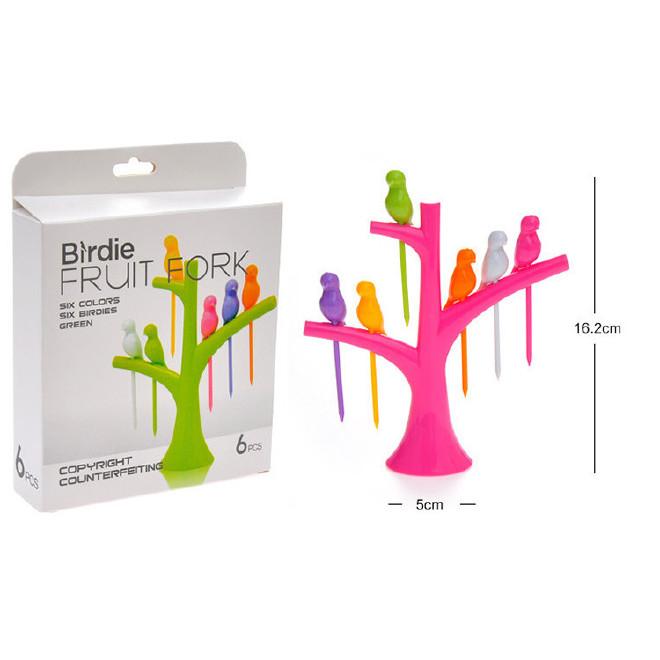 外贸创意树梢小鸟水果叉 塑料水果叉可印LOGO水果叉厨房用品6只