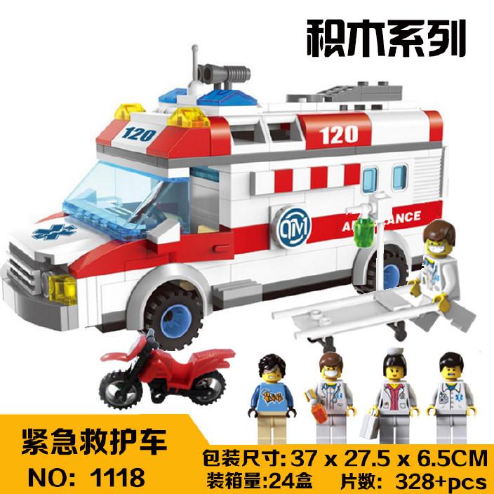 启蒙城市系列1118救护车车儿童益智拼装插积木玩具小颗粒积木直销图片