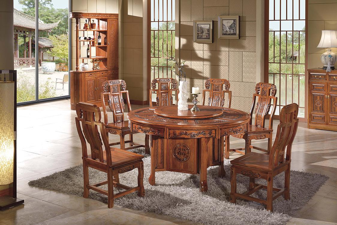 中式餐桌椅,组合餐桌椅,仿古餐桌,香樟木餐桌,香樟木仿古餐桌,实木桌椅