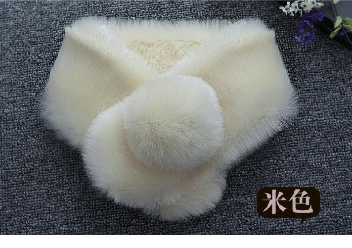 秋冬新仿獭兔毛毛领子韩版女士保暖可爱带球围脖仿皮草假领子围巾