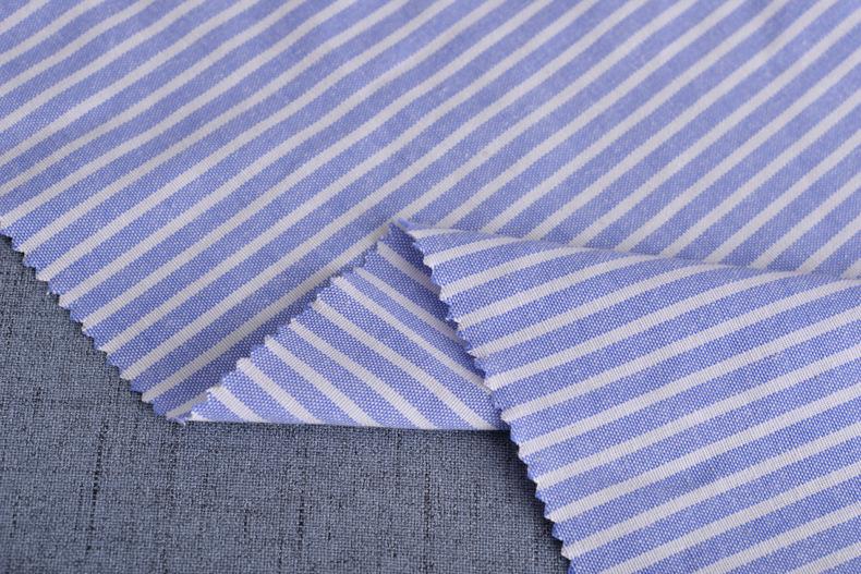 廠家直銷加厚牛津紡條子色織襯衫滌棉布料條紋布連衣裙職業裝面料示例圖5
