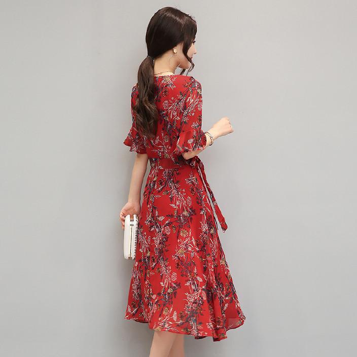 2017春秋裙子女夏修身裙装中长款大码中国风喇叭袖碎花雪纺连衣裙图片