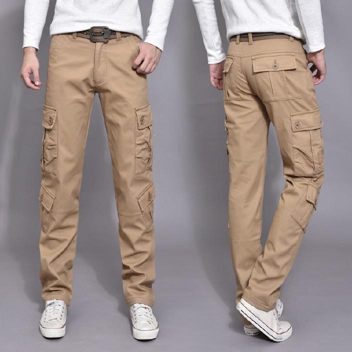 户外工装裤男多口袋长裤子防寒保暖加绒休闲裤冬季男式直筒型长裤图片
