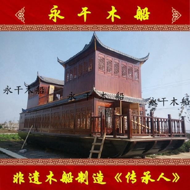 定制电动观光餐饮画舫船中国风单层画舫船大型水上乐园设备木船