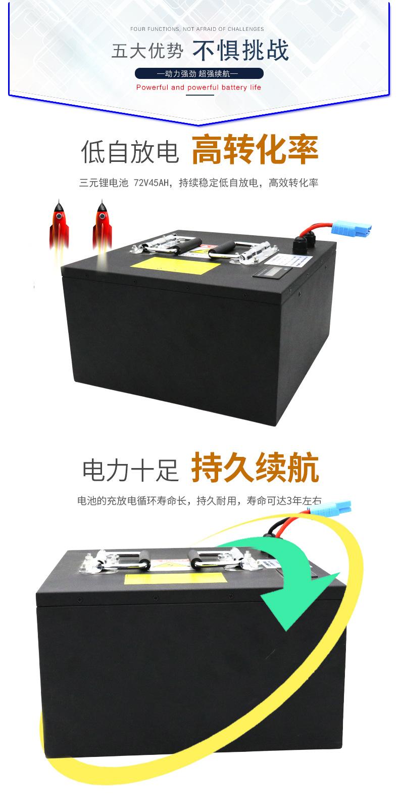 现货72V45AH电动车三元锂电池组电动摩托车全新持续强劲动力电池 18650 软包电池 铅酸换锂电池电动车示例图4