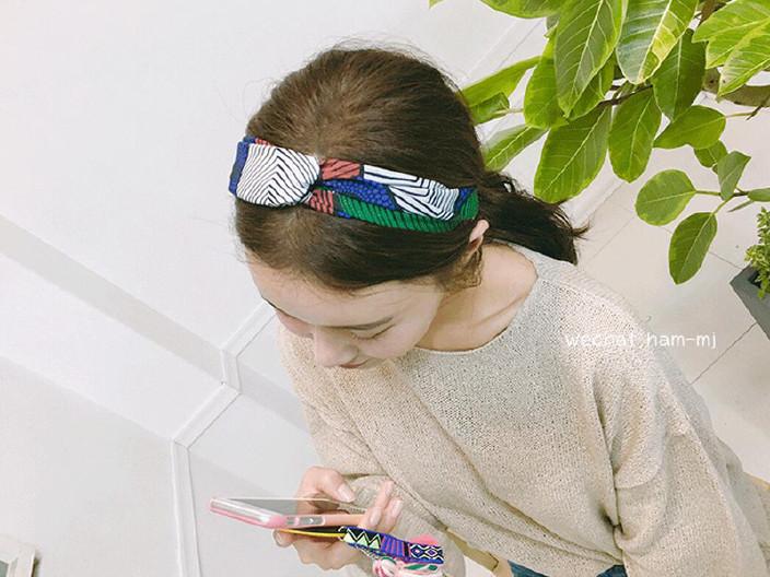 韩版头带发带印花女生v头带样子布艺百搭头巾a头带什么松紧女生图片