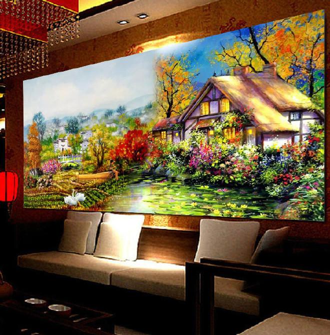 满绣十字绣批发厂家直销客厅新款风景画温馨家园欧式油画花园小屋