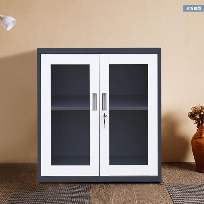 四川灰白套色钢制办公文件柜可移动玻璃门小矮柜抽屉式带锁储物柜