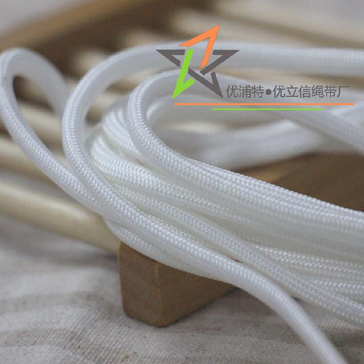 5mm白色尼龙圆绳 高密度包芯绳 产品挂绳 箱包手提绳 吊绳图片