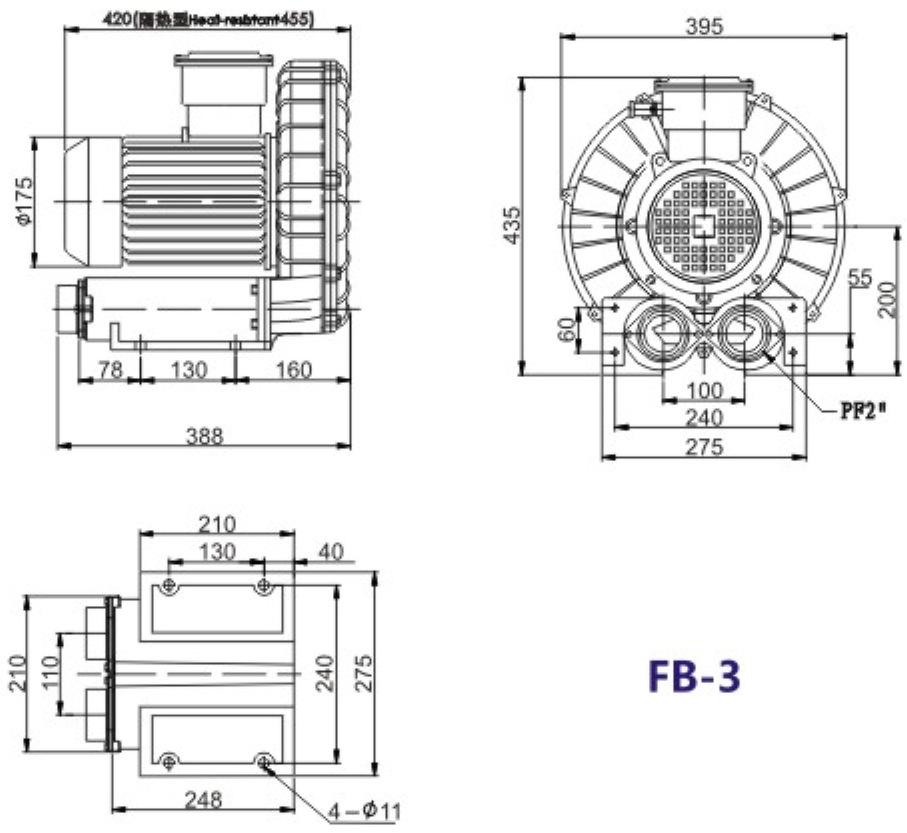 FB-3 2.2KW气体粉尘防爆环形高压鼓风机示例图2