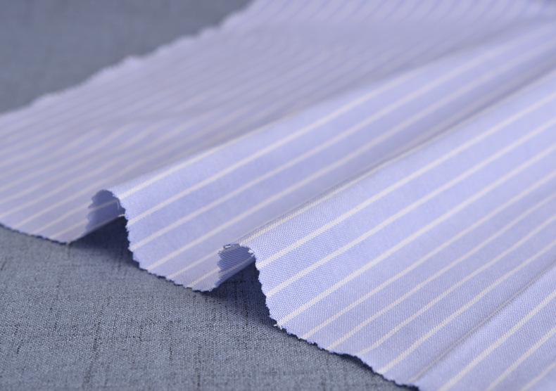 廠家直銷加厚牛津紡條子色織襯衫滌棉布料條紋布連衣裙職業裝面料示例圖11