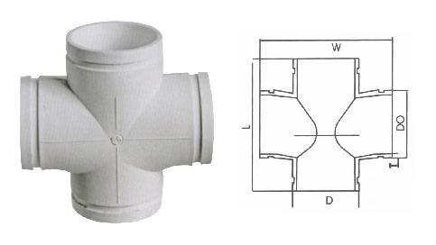 沟槽式HDPE超静音排水管,沟槽式HDPE平面四通,hdpe沟槽管示例图6