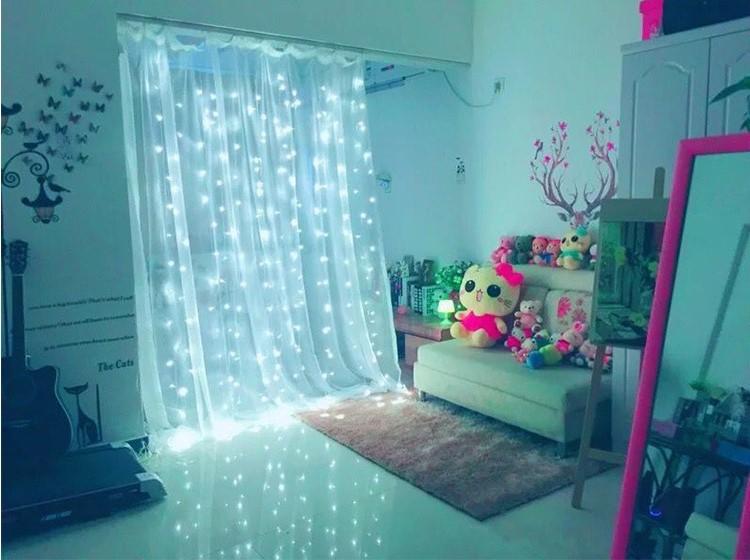 主播房间装饰 圣诞节日网红 LED窗帘灯3*3米304灯 冰条婚庆装饰灯示例图10