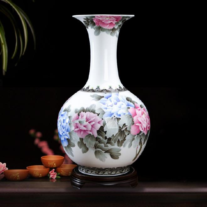 湖南醴陵陶瓷工艺品 家居摆件手绘花卉花瓶 釉下五彩花瓶摆件定制
