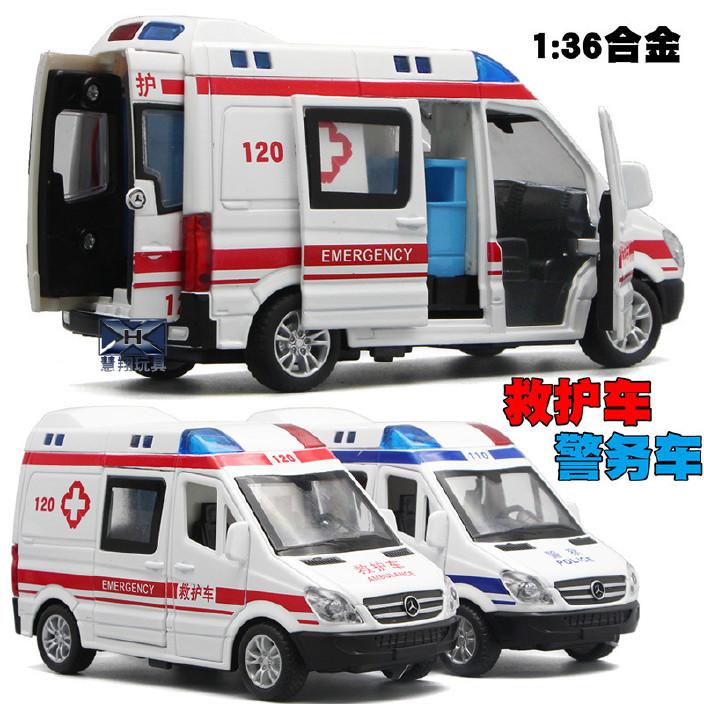 厂家直销批发特警车合金车仿真救护车模型声光回力儿童益智玩具车图片