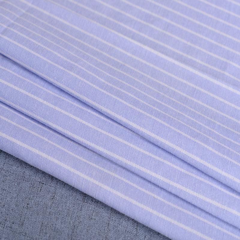 廠家直銷加厚牛津紡條子色織襯衫滌棉布料條紋布連衣裙職業裝面料