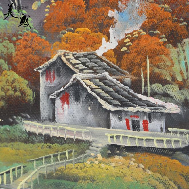 酒店装饰画手绘山水画 田园古风 背景墙客厅装