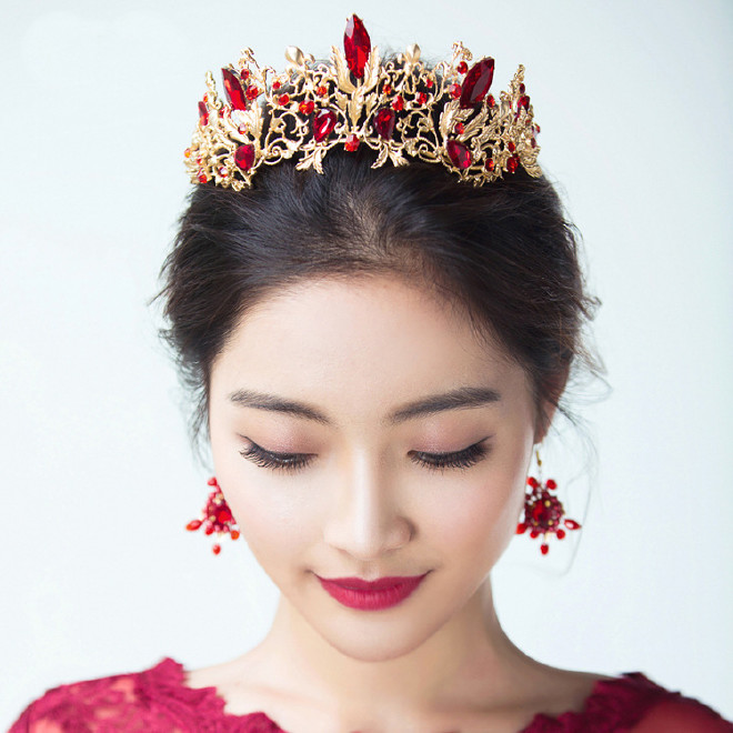 韩式头型皇冠发饰新娘头饰发箍头箍v头型婚纱影绑什么头冠好看?图片