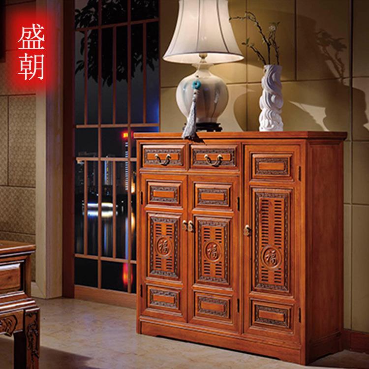 古典中式風格客廳家具鞋柜 玄關柜香樟木雕花防蟲全實木鞋柜特價