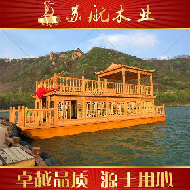 12米双层画舫船价格 大型画舫船制造厂家 水库观光游船