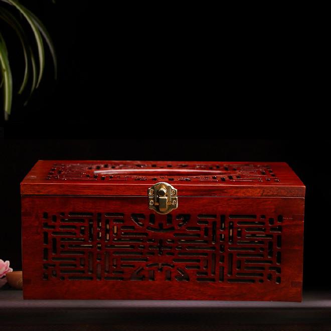 樟木榫卯纸巾盒家具 办公创意木质抽纸盒 纸巾收纳盒