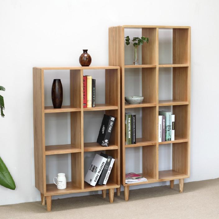 日式实木书架 白橡木书房家具 全实木展示架 置物架 书柜环保