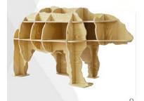 创意书架北极熊边几玄关桌 动物造型书架木质摆件装饰品一件代发