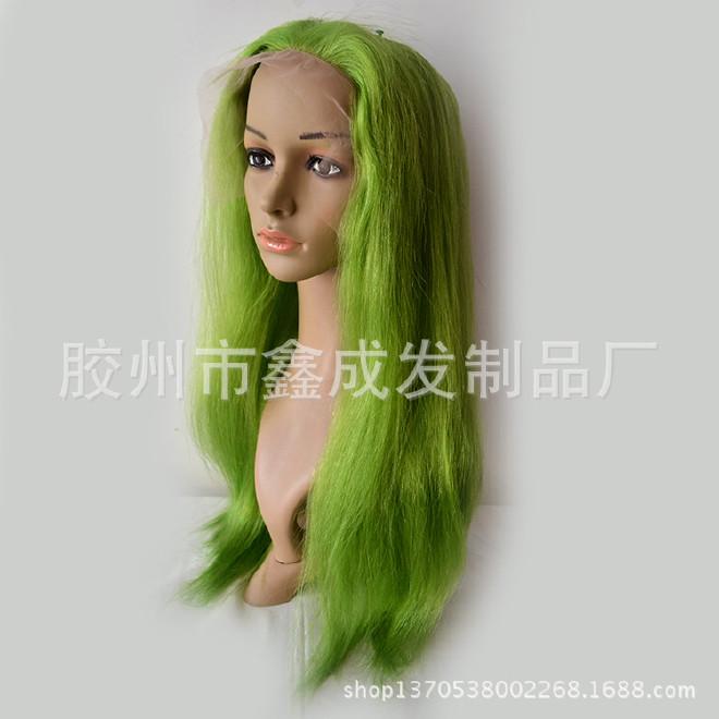 高品质cos 欧美假发 彩色长直发100%真人发全手钩假发头