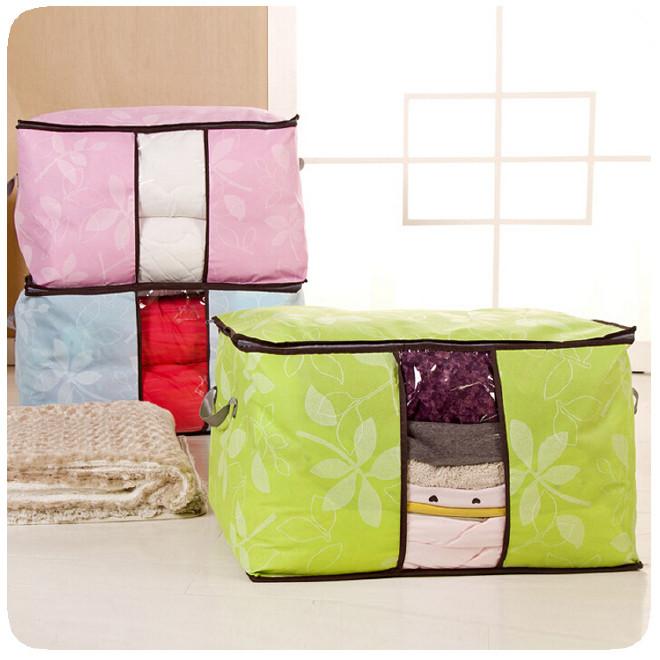 加厚多彩棉被袋 树叶可视窗环保棉被收纳袋 无纺布衣物整理袋图片