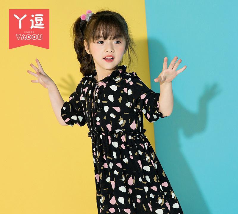 女童碎花连衣裙2017新款韩版长袖连身印花春秋裙子儿童公主裙潮图片