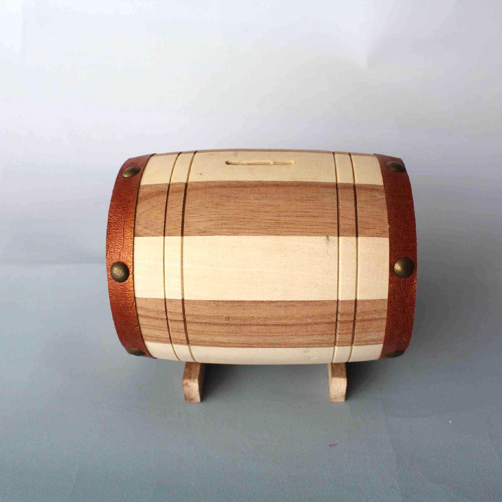 厂家批发木质存钱罐 木制工艺摆件桌面装饰零钱罐 家居饰品可定做