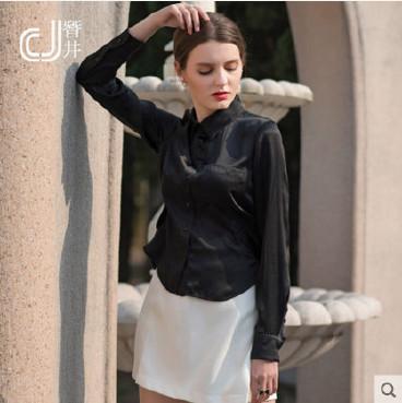 真丝衬衫 新款真丝女衬衫 欧美素绸缎衬衣 修身衬衣 长袖衬衫示例图3