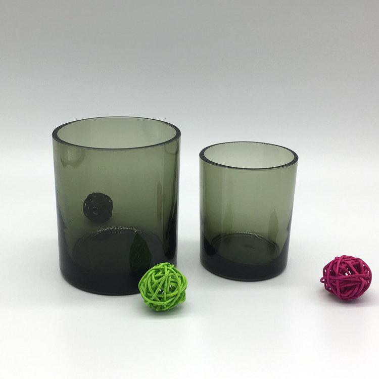 厂家直销 婚礼家居工艺品颜色料厚底玻璃烛台 创意摆件直筒蜡杯
