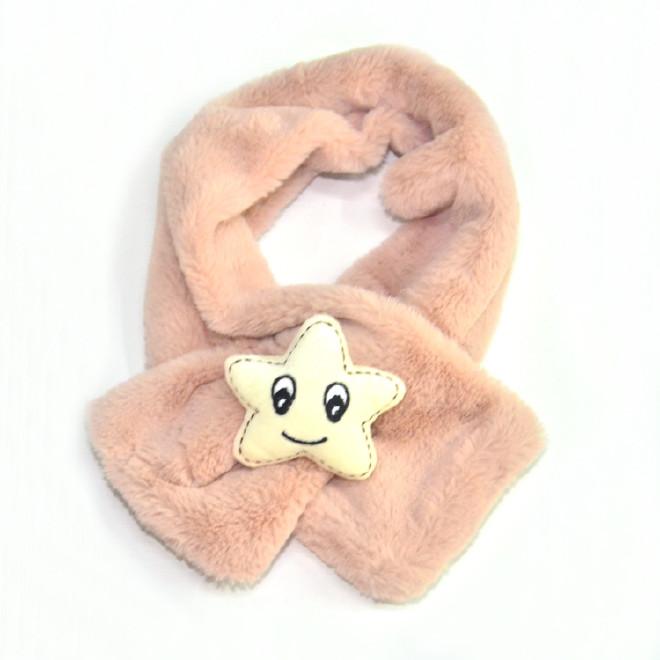 韩版秋冬儿童围巾围脖 亲子款仿兔毛毛绒围脖宝宝卡通五角星围巾