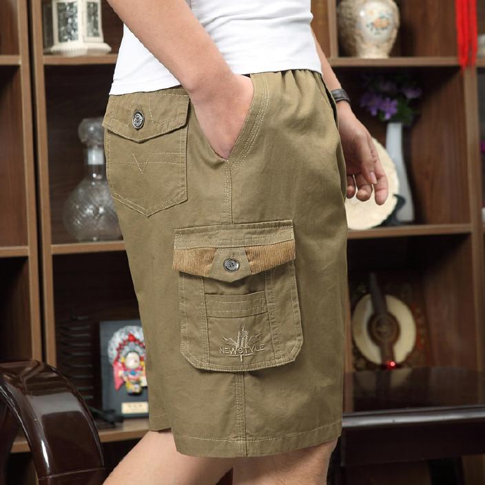 夏季薄款工装短裤男中老年装加肥加大码宽松多口袋休闲裤男五分裤图片