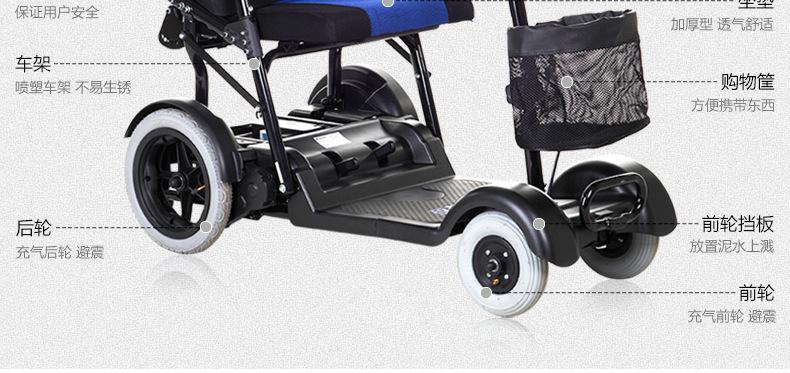 包邮上海互邦电动轮椅HBLD4-E轻便可折叠老年残疾人代步车家用示例图33