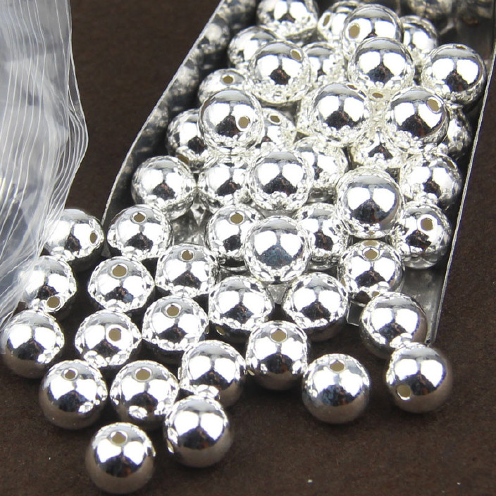 S925纯银散珠厂家直销光珠佛珠银珠DIY任意伸缩帐图片