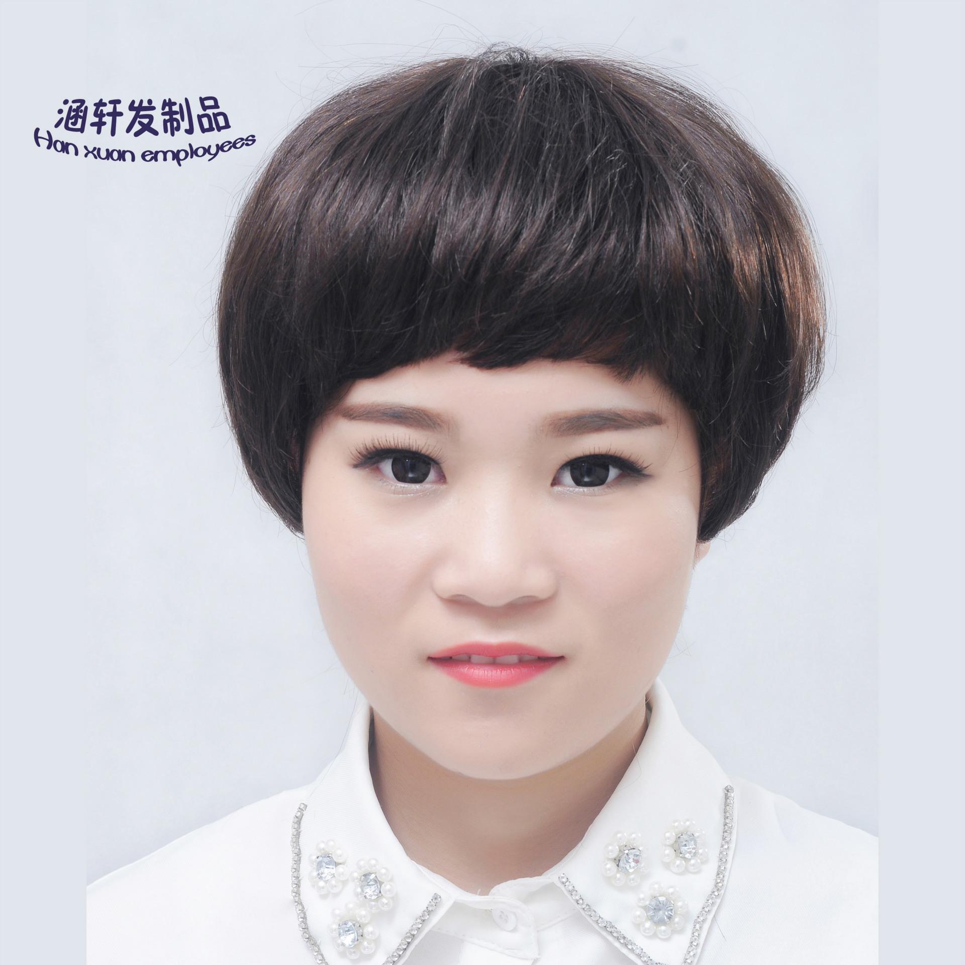 假发女短发蘑菇头 中老年真发 齐刘海直发 真人发头套 厂家批发