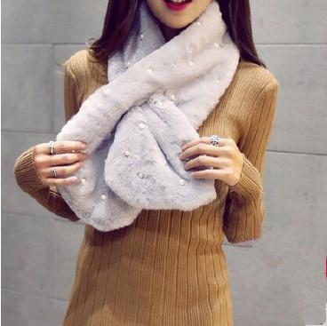 秋冬季韩版名媛气质围脖 交叉安哥拉珍珠兔毛毛领围巾 好货不掉毛