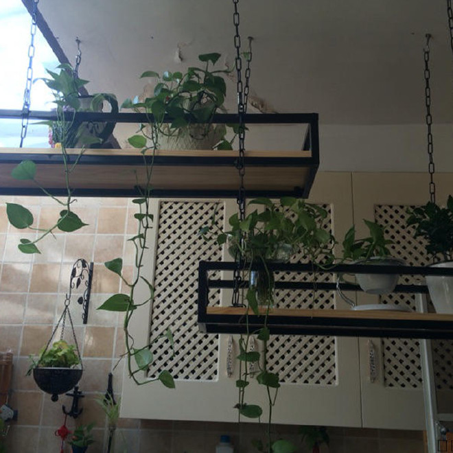 铁艺实木置物架 简约酒吧咖啡厅装饰多肉植物架 工业风悬挂吊架图片