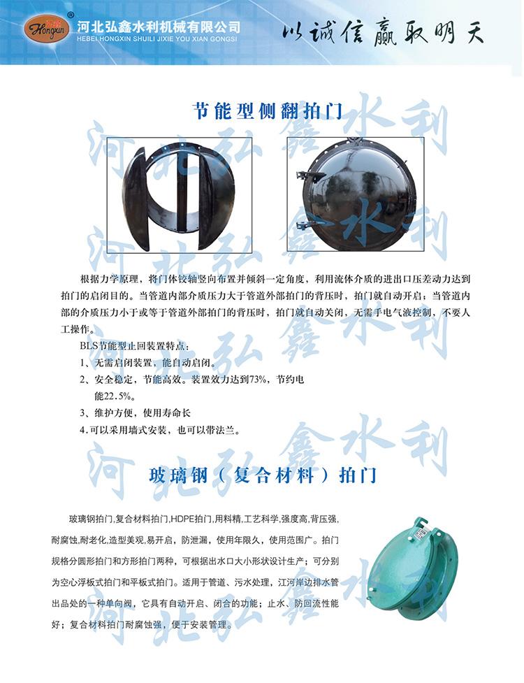 HDPE玻璃钢拍门 复合材料拍门DN600 钢制浮箱拍门示例图4