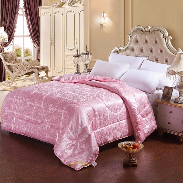 粉色贡缎提花被子 宾馆婚庆被子被芯 礼品被厂家直销支持定制