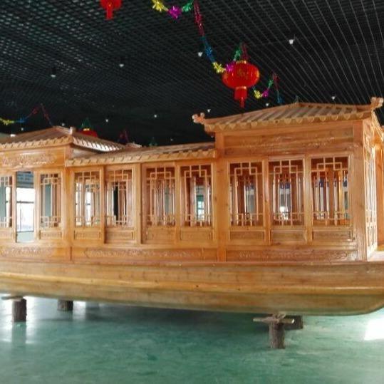 華海木船供應公園游船 景區觀光船 電動游船 水庫餐飲船